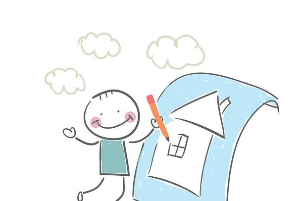 Tegning av strekmann som tegner et hus
